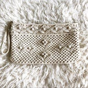 Cream crochet clutch!